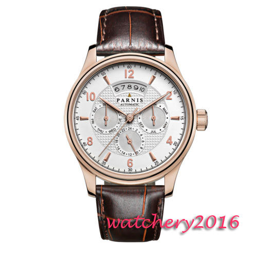 42mm parnis White dial Rose Golden Case 2017 Top Brand Luxury mens Watch date Day Display miyota automatic mechanical Mens Watch цена и фото