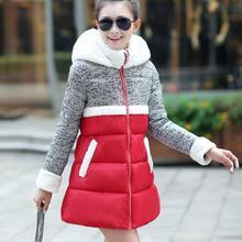 2016 новый зима женщины пальто ягненка Девушки сшивание вниз проложенный пальто длинный толстый рыхлый плащ вниз куртка повседневная зимнее пальто F3583