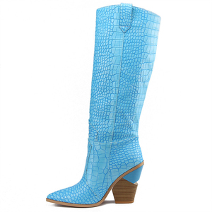 Image 4 - 7 colors 2020 New Brand women boots pointed toe thick high heels knee high boots autumn winter shoes slip on sexy ladies shoes