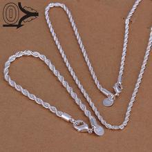 Посеребренный ювелирный набор, модные свадебные аксессуары, серебряная витая веревка ожерелье браслет для мужчин из двух частей
