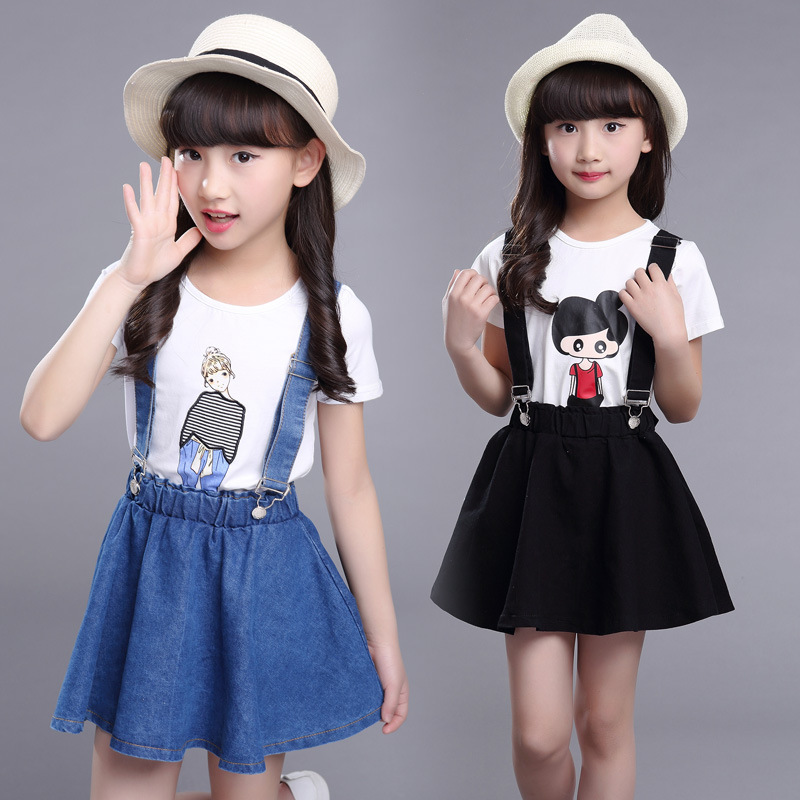 2018 Summer Girls Fashion 3D Cartoon Printing Denim Romper Skirt 2 Piece Set Kids Baby Casual Cotton Set For Children Bobozone