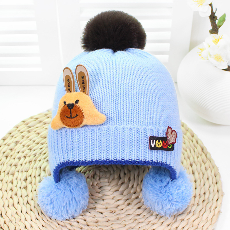 Baby Boys Girls   Beanie   Pocket Faux Fur Pompom Hat Children Plain Knitting Hats With Ear Protection