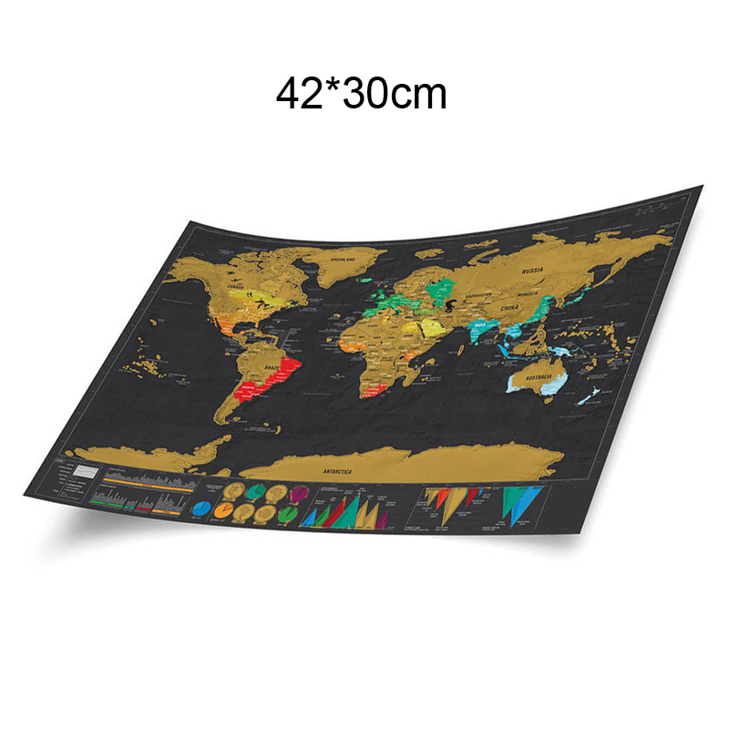 Image 2 - 1pcs Deluxe Erase Black World Map Scratch off World Map Personalized Travel Scratch for Map Room Home Decoration Wall Stickers-in Wall Stickers from Home & Garden