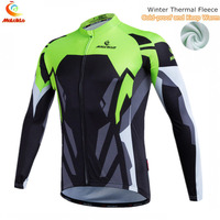Malciklo Men's Cycling Jersey Winter Cycling Clothing Fleece Bike Jacket Team Bike Bicycle Clothes Long sleeve Jersey
