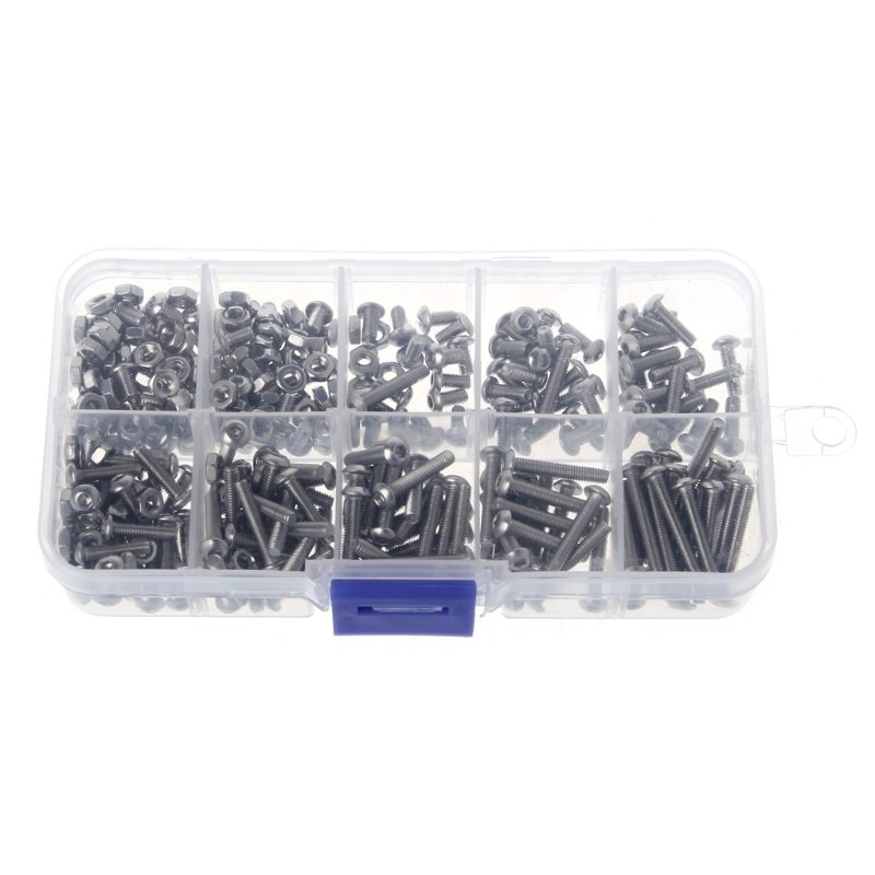 OOTDTY 340Pcs M3 304 Stainless Steel Silver Button Head Allen Bolts Screws Nuts Assortment Kit For Machinery Industry 440pcs m3 m4 m5 a2 stainless steel iso7380 button head allen bolts hexagon socket screws with nuts assortment kit no 2345