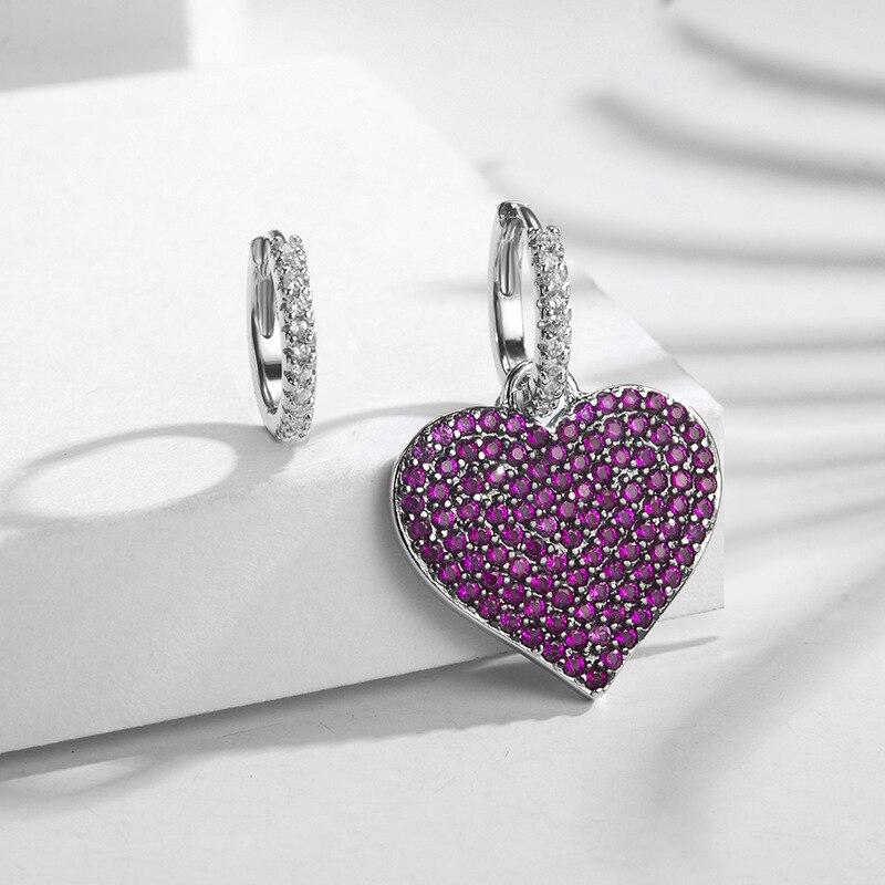 Pink Stone Heart Shaped Ab Design Stud Earrings Women