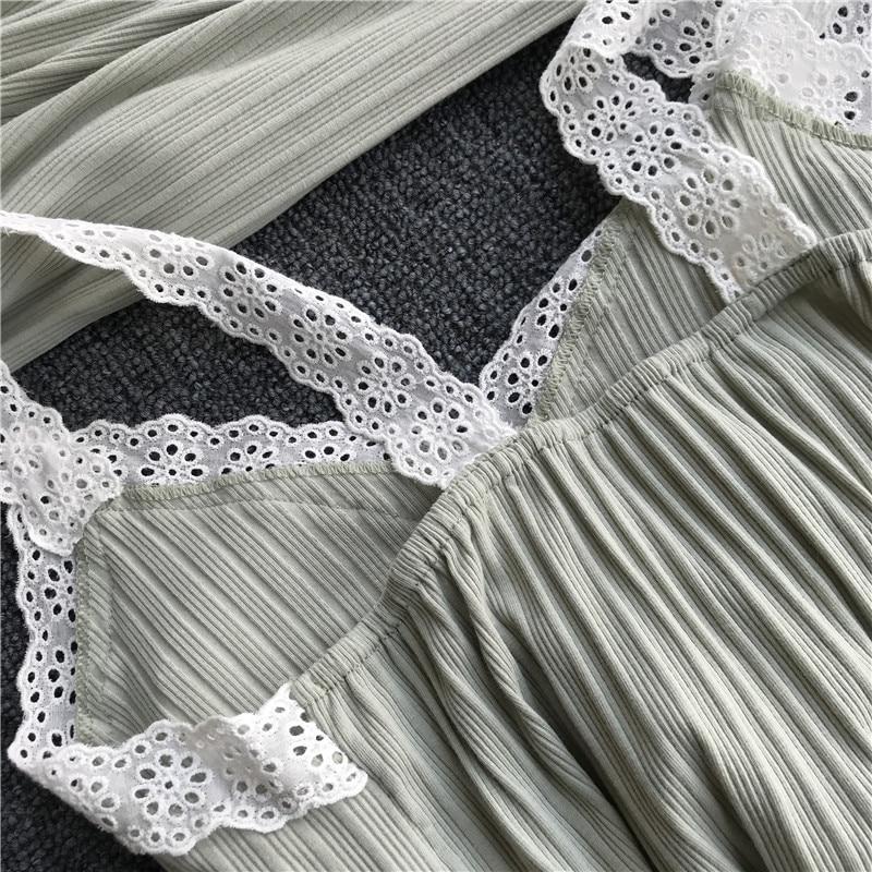 Image 2 - Lisacmvpnel Autumn 3 Pcs Cotton Lace Sexy Woman Pajamas Nightdress+Cardigan+Long Pant Set Female Pijama-in Pajama Sets from Underwear & Sleepwears