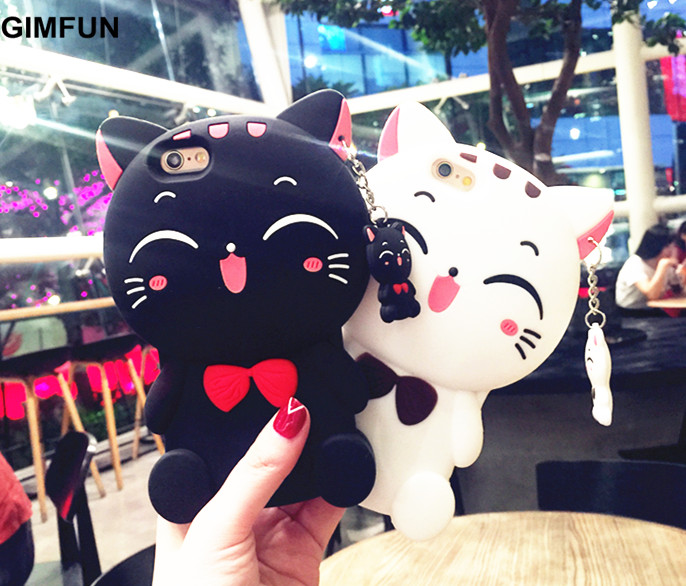 GIMFUN Kawaii 3D Cartoon Cat Silicone phone Case for