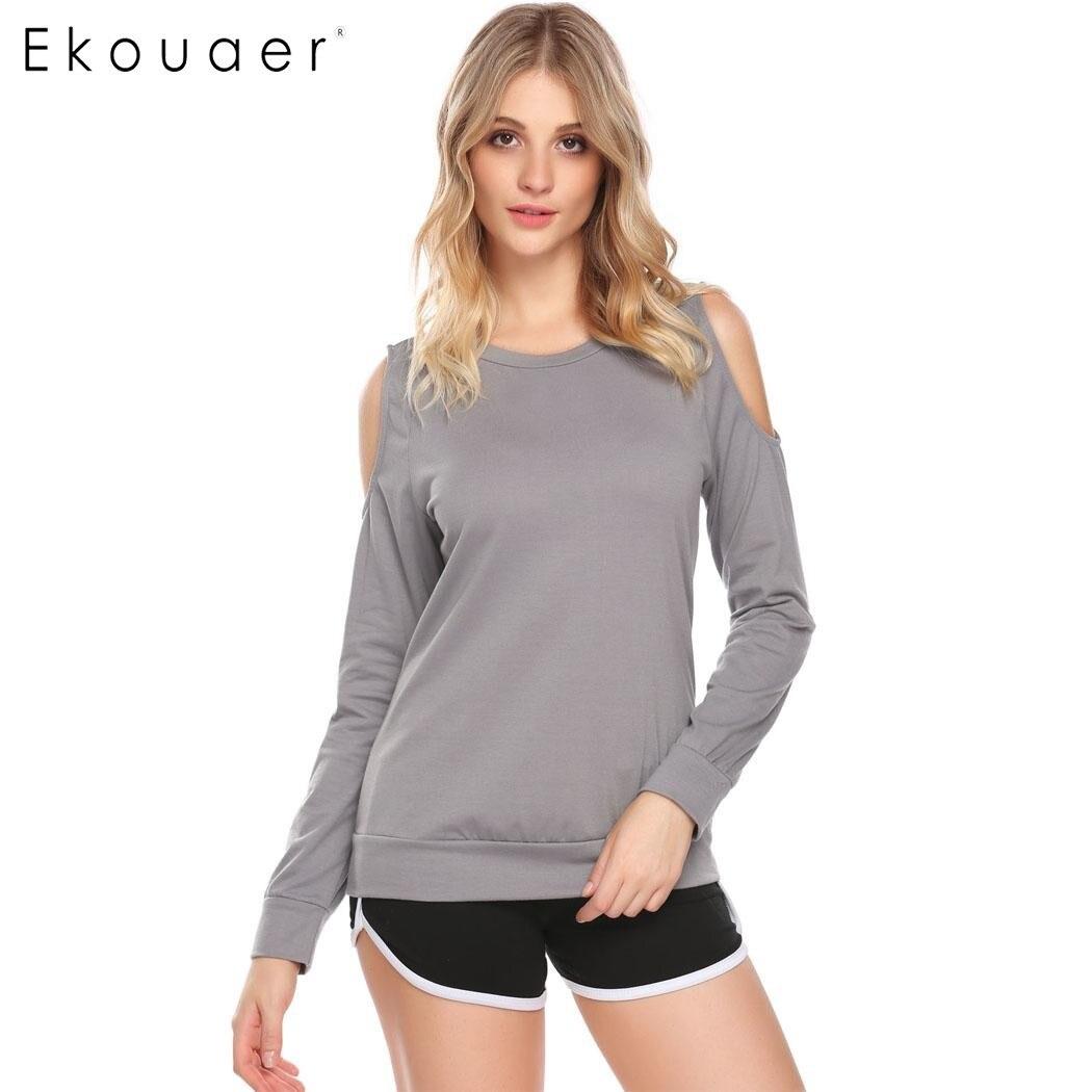 9dc2866aa5 Ekouaer Sexy Pajamas Top Women Long Sleeve Cold Shoulder T Shirt Sleepwear  Nightwear Female Casual Sleeping Wear Gray Black-in Sleep Tops from  Underwear ...