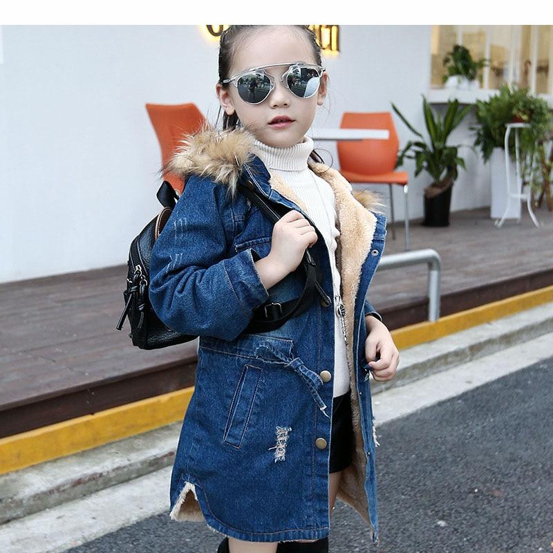 hooded warm thick girls denim jacket winter autumn jacket for ...