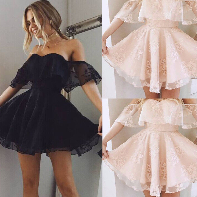 Evening Party Dresses Women Formal Lace Dress Summer Prom Off Shoulder Short Sleeve Mini Dresses Solid Black Pink