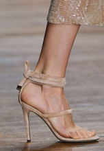 цена на 2017 Big Fashion Rome Style Back Strap Solid Ankle Wrap Peep Toe Super High Thin Heels Summer Women Concise Sandals Free Ship