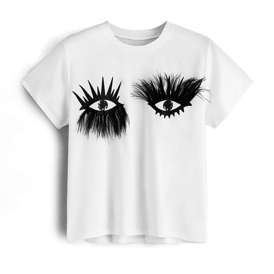 2019 New Summer White T Shirt Woman Feathers Eyes T-shirts For Women Solid Female Short Sleeve T-shirt Casual O-neck Top Tee