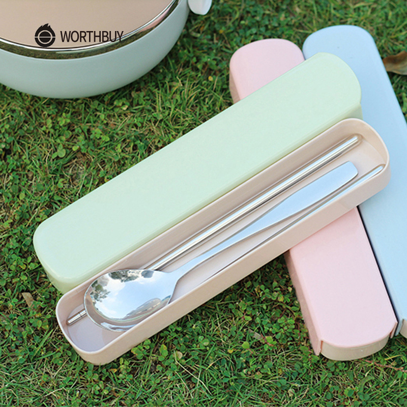 WORTHBUY Portable Dinnerware Set Chinese Stainless Steel Tableware Set With Box For Kids Travel Picnic Set Kitchen Accessories