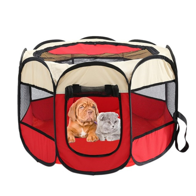 1b20ae3a6edc US $17.63 30% OFF|Portable Folding Pet Carrier Tent Playpen Dog Cat Fence  Puppy Kennel Large Space Foldable Exercise Play In House Or Outdoor-in ...