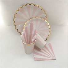 ipalmay Pink & Metallic Gold Scallop Cups Disposable Paper Plates Party Napkins Birthdays Showers New Year Decoration Tableware