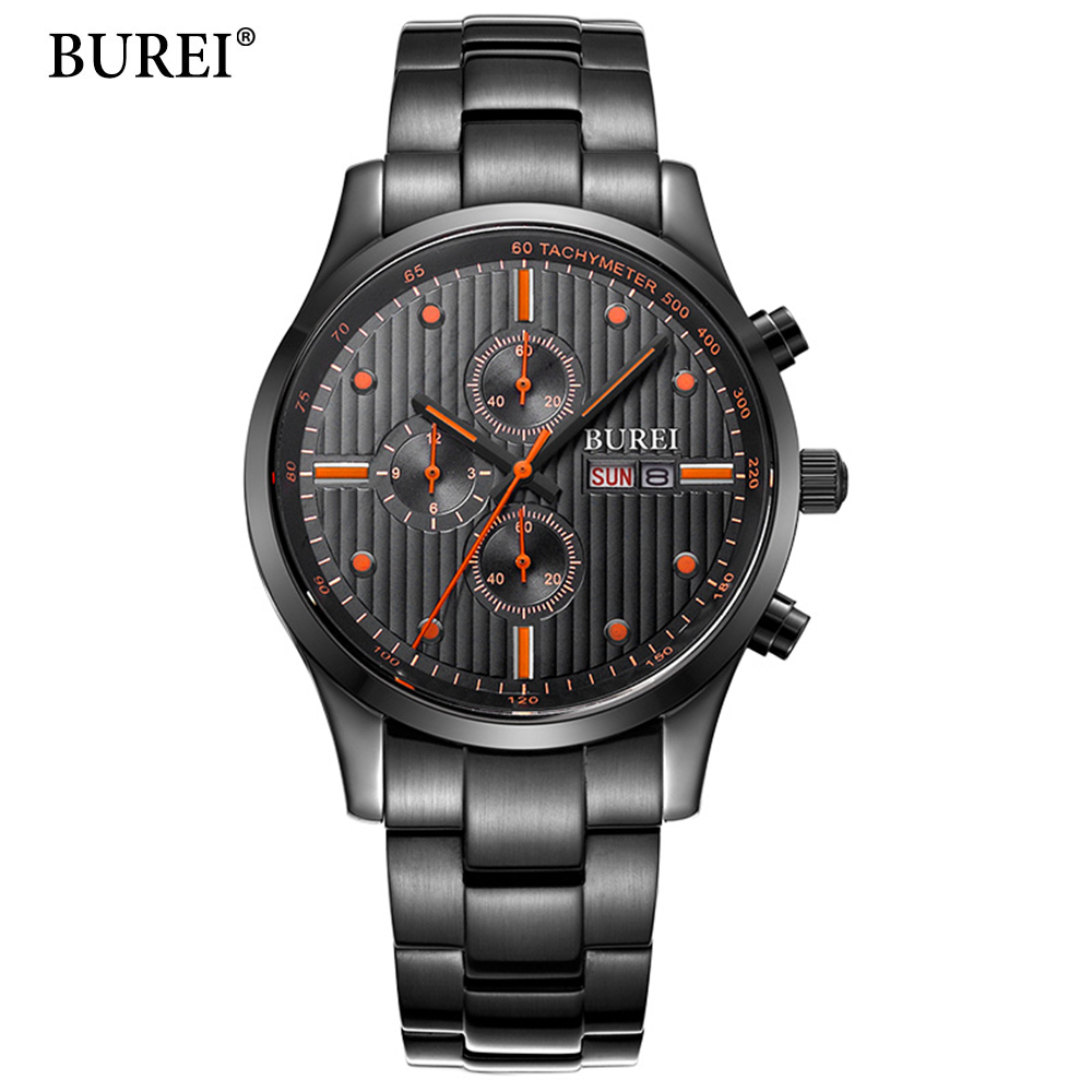 Fashion Men Quartz Watch Silver Steel Wristwatch Casual Dress Business Clock Male Top BUREI Brand Waterproof Relogio Masculino burei fashion men casual watches sport genuine leather quartz watch dress clock hours male business wristwatch relogio masculino