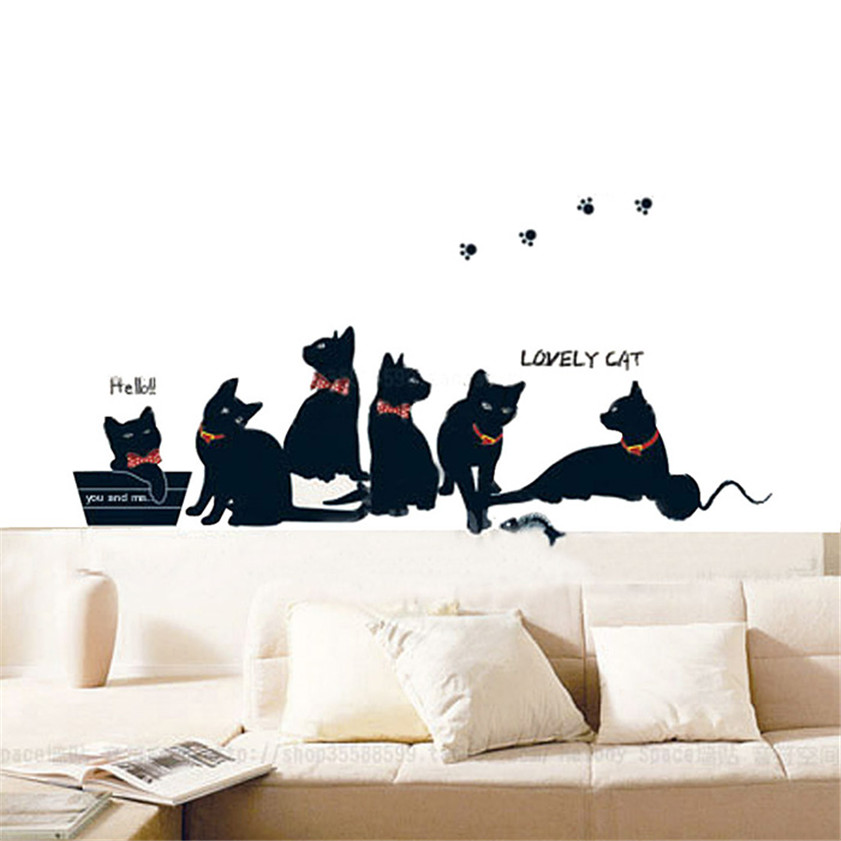 Wallpaper Sticker Wall Stickers Lovely Black Cats Home Decor Art Mural Kids Room Nursery Wallpapers For Living Room 2018 B#
