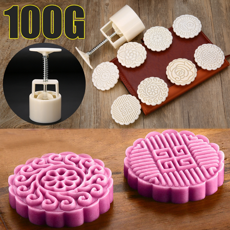 100g Round Mooncake Mold Cookies Moon Cake Decor 8 Flower Stamps +1 Barrel Cake Tool
