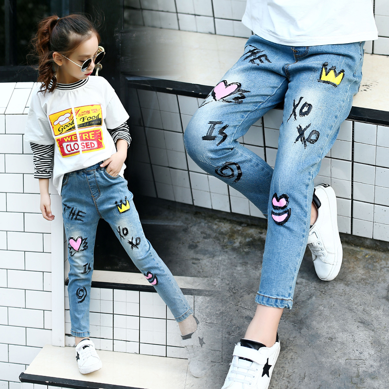 560a68cdbbc7f 2018 spring New arrival girls jeans light blue fashion embroidery children  trousers skinny patchwork brand kids pants