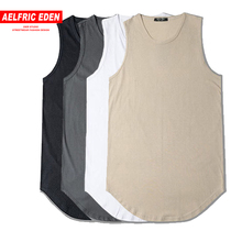 Aelfric Eden Men Summer Hip Hop Extend Long Tank Top Men's White Vest Fashion Swag Sleeveless Cotton Justin Bieber Solid Tops(China)