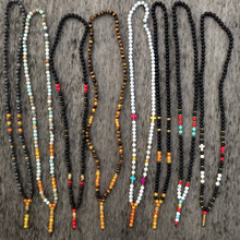 Mcllroy mens necklaces pendants 8mm natural tiger eye stone beads buddha cross necklace for women custom Mala jewelry 2019 gift(China)