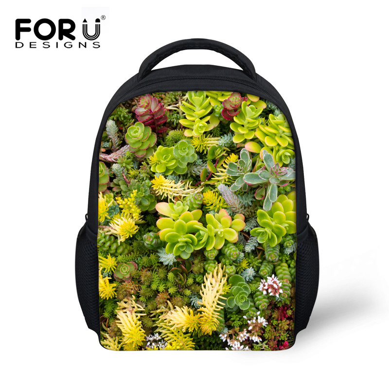 FORUDESIGNS 3D Green Leaves Pattern Children School Bags Casual Book For Kindergarten Baby Small Schoolbags Bolsa In From Luggage