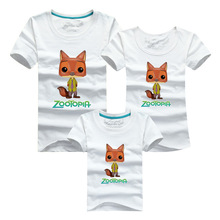 Summer Cotton T Shirt Zootopia T Shirts Plus Size Women Man Tops Matching Family Outfits Mother Fater Kids Short Sleeve Clothes