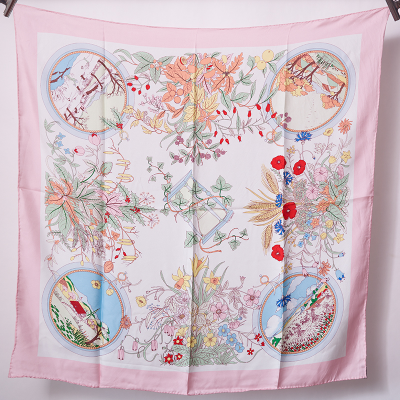 2019 Spring Floral Prints 100% Twill Silk Scarf Wraps Shawl Hijab Head Scarves for Women 35X35 Inches