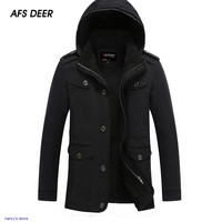 2015 Plus Size Men Casual Thick Hooded Jackets Winter Outcoat Keep Warm Fleece Coats Outdoor Male