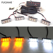 Set Car 4x3 12 LED Red Blue White Green Amber Yellow Strobe Emergency Flashing Light