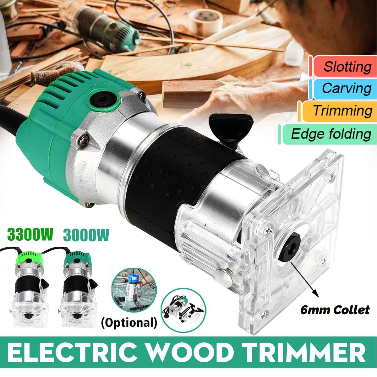 3000W/3300W Wood Electric Hand Trimmer 30000rpm Woodworking Milling Engraving Slotting Trimming Hand Carving Machine Wood Router