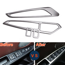 BBQ@FUKA 4pcs Car Interior Steel Door Window Lift Switch Button Cover Trim Fit For BMW X5 E70 F15 X6 E71 2014-15 Car-Styling