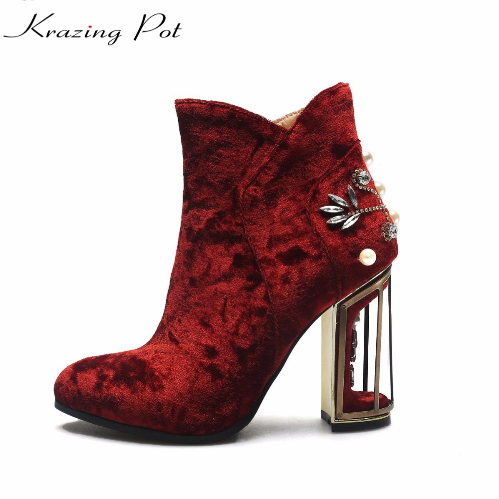 Krazing Pot high street fashion velvet strange style high heels crystal pearl boots superstar pointed toe women ankle boots L13 krazing pot genuine leather sheep skin thick high heels square toe zipper boots women superstar party western mid calf boots l17