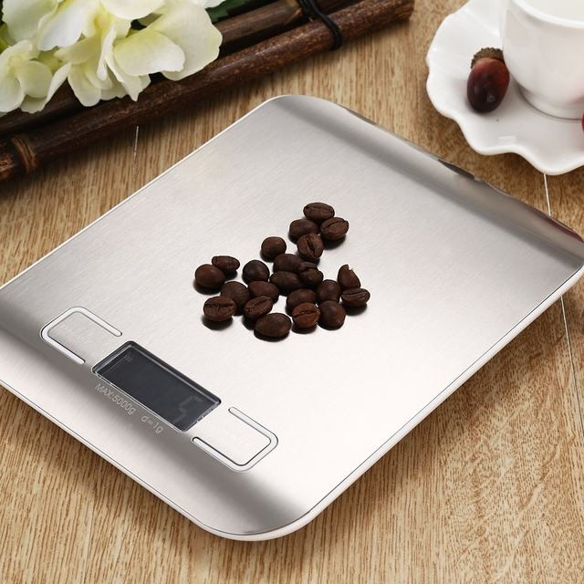 LCD Backlight Digital Kitchen Scale Fingerprint-proof Stainless Steel Platform 5000g / 1g Weighing Device Electric Food Scale