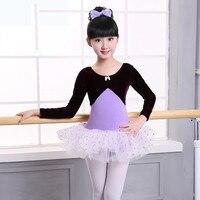 New Winter Autumn Girls Children Velvet Ballet Tutu Dress Kids Long Sleeve Bowknot Leotard Dress Ballet