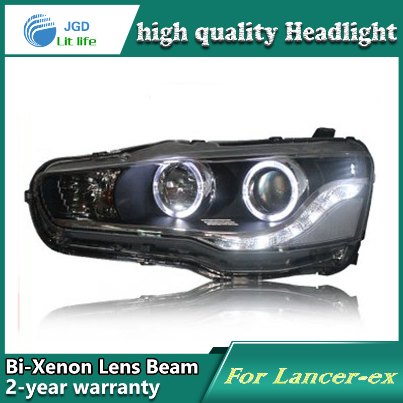 high quality Car Styling case for Mitsubishi Lancer 2009-2011 Headlights LED Headlight DRL Lens Double Beam HID Xenon hireno headlamp for 2009 2011 hyundai genesis coupe headlight assembly led drl angel lens double beam hid xenon 2pcs