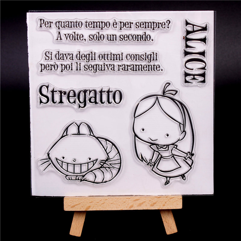 Italian Word Rubber Silicone Clear Stamps For Scrapbooking Tampons Transparents Seal Background Stamp Card Making Diy Alice Girl