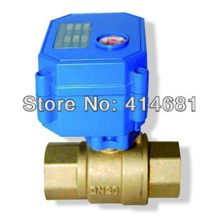 3/4 Brass electric ball valve, DC12V electric motorized valve with 2/3/5 Wires, DN20 electric motor vlave for HVAC image