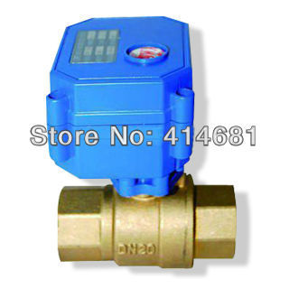 """3/4"""" Brass electric ball valve, DC12V electric motorized valve with 2/3/5 Wires, DN20 electric motor vlave for HVAC"""