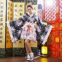 Japanese Kimono Vintage Tradition Silk Yukata Dress Sexy Costumes Anime Cosplay Mujer Halloween Woman Maid Party