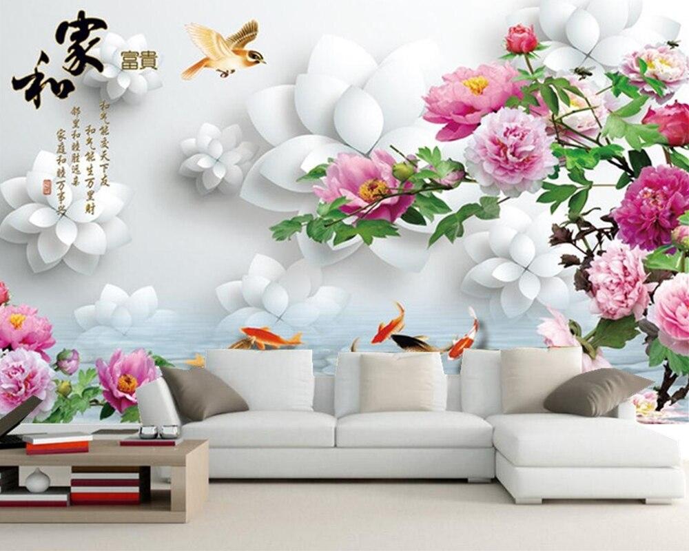 Papel de parede style chinois neuf poisson carte riche pivoine 3D papier peint, salon TV canapé mur chambre papiers muraux décor à la maison