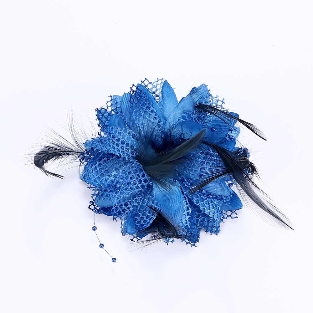 8 farben Blume Feder Perle Corsage Haar Clips Fascinator Braut Hairband Party
