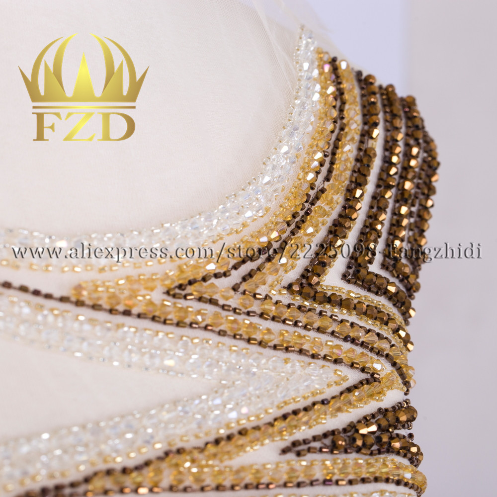FANGZHIDI Fashion Evening Dress Large Size Hand-made Rhinestone Patches For Wedding Dress Ball Gown DIY