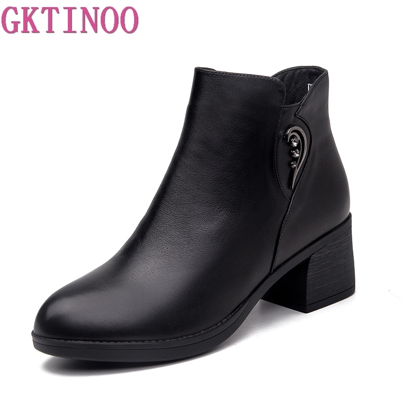 GKTINOO 2019 Fashion Genuine Leather Ankle Boots Women Winter Warm Fur Boots Black Thick High Heel