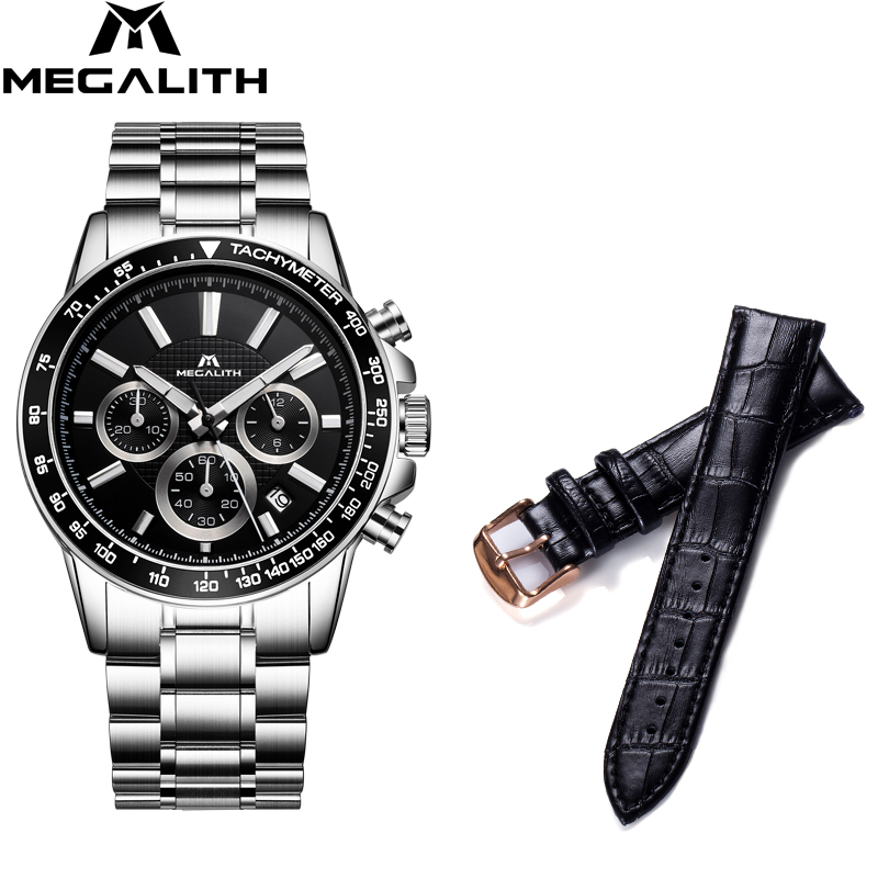 MEGALITH Chronograph Waterproof Men Fashion Business Watches Set Mens Watches Date Calendar Mens Quartz Watch Relogio MasculinoMEGALITH Chronograph Waterproof Men Fashion Business Watches Set Mens Watches Date Calendar Mens Quartz Watch Relogio Masculino