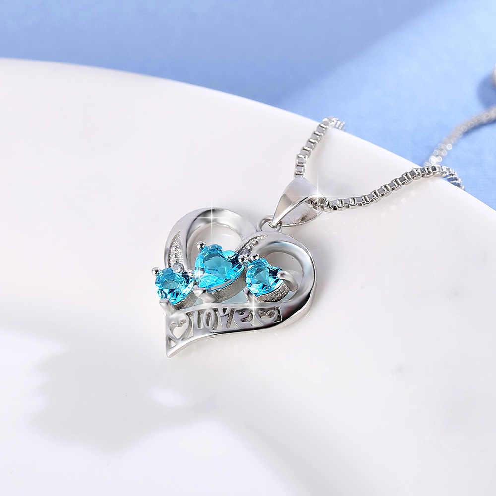Simples três coração pingente colar para mulher azul requintado cristal colares & pingentes 925 prata esterlina jóias presente do amor