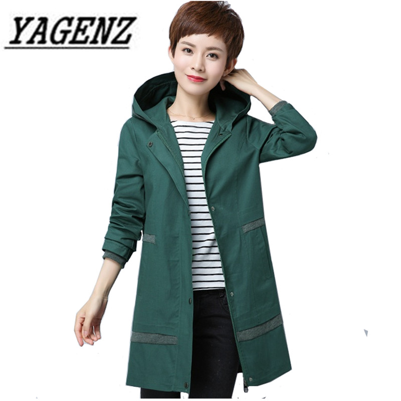 Oversized Female Windbreaker Hooded Coats 2018 Spring Loose Middle-aged Women Coat Casual Solid Long-sleeved Ladies Trench 6XL