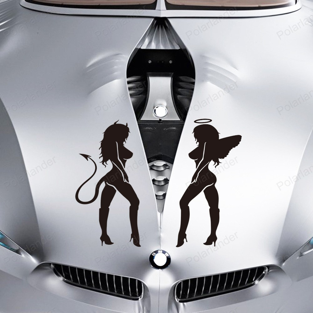 Car sticker design for sale - Aliexpress Com Buy Hot Sale Angels And Demons Reflective 15 18cm Car Stickers Angel Devil Stickers Sexy Car Stickers Beauty Car Stickers From Reliable