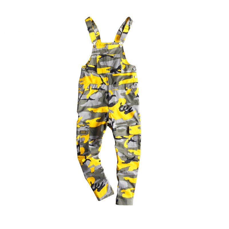 MORUANCLE Men's Camouflage Cargo Denim Bib Overalls Hip Hop   Jeans   Jumpsuits Camo Workwear Suspender Pants With Multi Pockets
